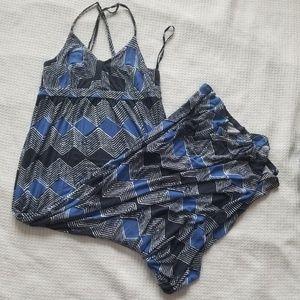 Black and Blue Spaghetti Strap Maxi Dress